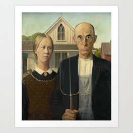 American Gothic Oil Painting by Grant Wood Art Print