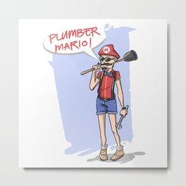 Hipster Mario Metal Print