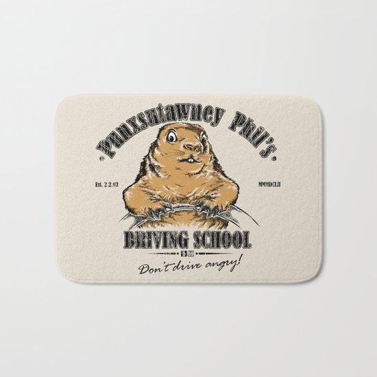 Punxsutawney Phil's Driving School Bath Mat