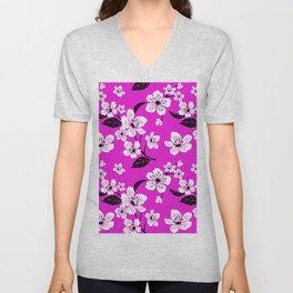 Light Purple & White Sakura Cherry Tree Flower Blooms on Dark Fuchsia Purple Hawaiian Floral Pattern Unisex V-Neck