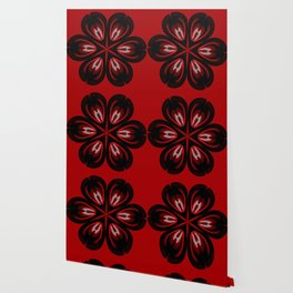 Red and Black Abstract Flower Wallpaper