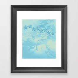flowers in an abstract blue grunge landscape Framed Art Print