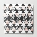 Modern Black White Rose Gold Marble Geo Triangles by blackstrawberry