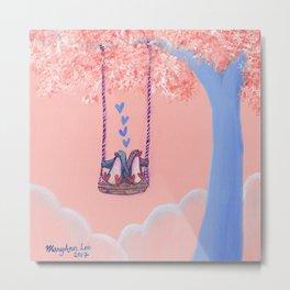 Penguins in Love on Their Tree Swing in a Pink Sky Metal Print