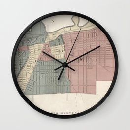 old vintage antique aerial street map of the city of utica, ny [new york] Wall Clock