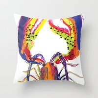 lobster Throw Pillows featuring lobster by Urquhart
