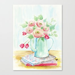Tulips and French Enamelware Canvas Print
