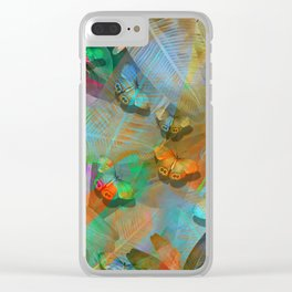 """Tropical Spring and butterflies"" Clear iPhone Case"