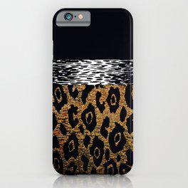 ANIMAL PRINT CHEETAH LEOPARD BLACK WHITE AND GOLDEN BROWN iPhone Case
