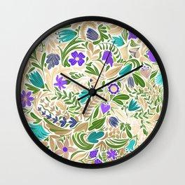 Colorful Gold Floral Leaf Illustration Pattern Wall Clock