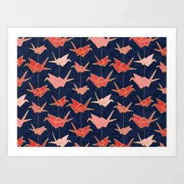 Red origami cranes on navy blue Art Print