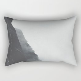 Black And White Misty Cliff Photography Mystery Foggy Landscape Rectangular Pillow
