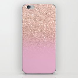 Rose gold glitter ombre on sweet lilac iPhone Skin