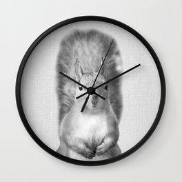 Squirrel - Black & White Wall Clock