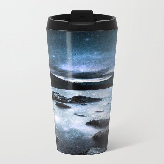Magical Mountain Lake Steel Blue Gray Metal Travel Mug
