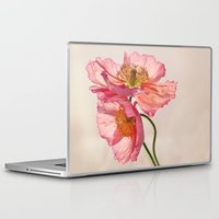 jazzberry Laptop & iPad Skins featuring Like Light through Silk - peach / pink translucent poppy floral by micklyn