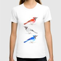 jay fleck T-shirts featuring Red jay, white jay, blue jay. by The animals moved to - society6.com/dian