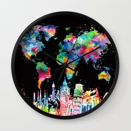 world map city skyline 3 Wall Clock