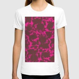 dark floral silhouette on deep pink T-shirt