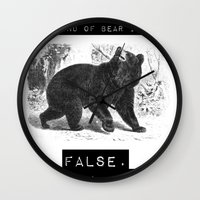 dwight schrute Wall Clocks featuring false. black bear by Torches