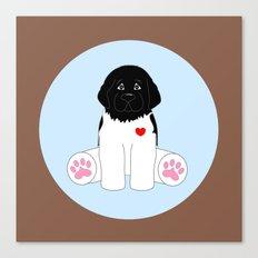 Stuffed Black and White Dog Canvas Print