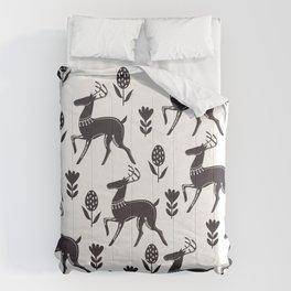 black white deer Comforters