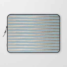 Abstract Stripes Gold Tropical Ocean Sea Blue Laptop Sleeve