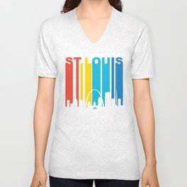Retro 1970's Style St Louis Skyline Unisex V-Neck