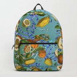 vintage lemons and oranges on ribbons of blue Backpack
