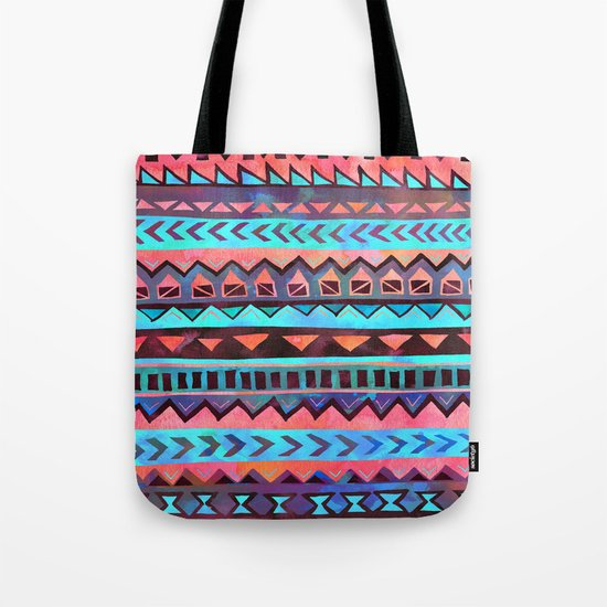PATTERN {Tribal Stripe- Aqua} Tote Bag