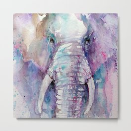 Young Elephant in Purple Metal Print