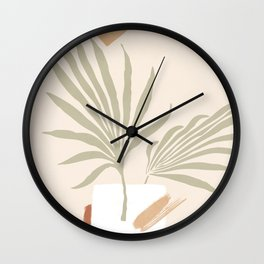 Tropical abstraction, mix of leafs and shapes Wall Clock