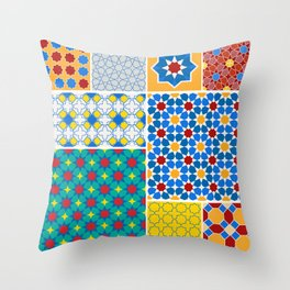 Moroccan pattern, Morocco. Patchwork mosaic with traditional folk geometric ornament. Tribal orienta Throw Pillow