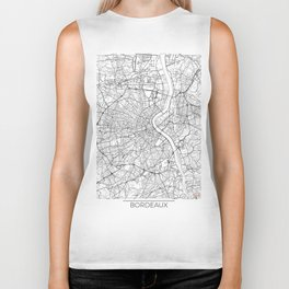 Bordeaux Map White Biker Tank