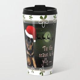 Tis The Season To Be Jolly Cute Rottweiler Christmas Travel Mug