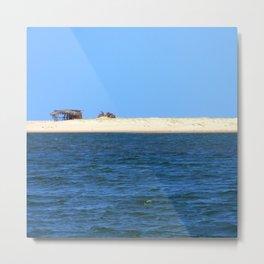 Strip of sand sea and sky Metal Print