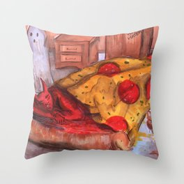 devil in pizza Throw Pillow
