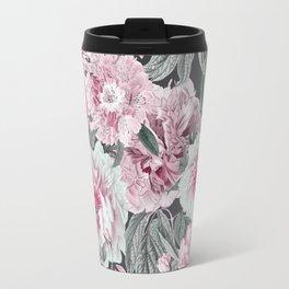 Nostalgic Flower Pattern Teal And Pink Travel Mug