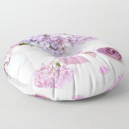 Lavender Purple Hydrangeas Floral  Floor Pillow