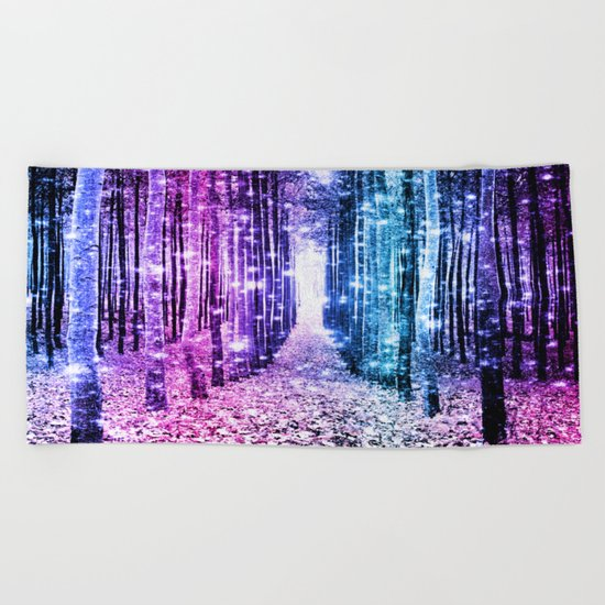 Magical Forest : Aqua Periwinkle Purple Pink Ombre Sparkle Beach Towel