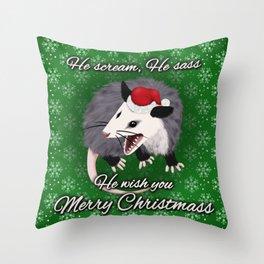 Christmas Opossum Throw Pillow