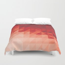 Low Poly Red Triangular Geometric Polygonal Abstract Cool Duvet Cover