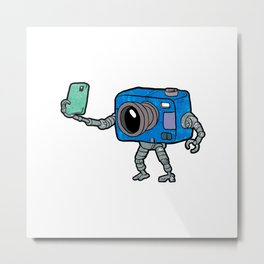 robot camera making selfie Metal Print