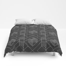 Metallic Silver Foil in Dark Gray Comforters