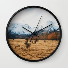 Peaceful New Zealand mountain landscape Wall Clock