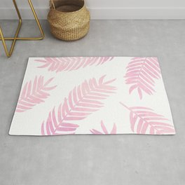 Pink Palm Leaves     White Background Rug