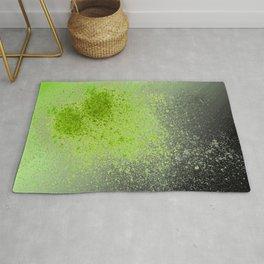 Neon Green and Black Spray Paint Splatter Rug