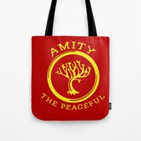 divergent Tote Bags featuring Divergent - Amity The Peaceful by Lunil