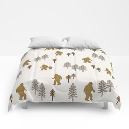 Sasquatch forest woodland mythic animal nature pattern cute kids design forest Comforters