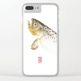 Brown Trout - Gyotaku Clear iPhone Case